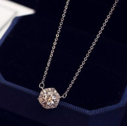 Wholesale single crystal pendants - Top Quality Single Crystal Cubic Zircon Pendant Necklace Fashion Platinum plating Chain Choker Necklace for Women Wedding Collar Jewelry