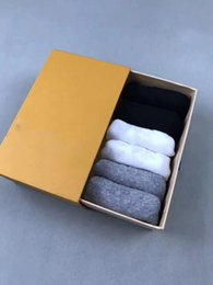Wholesale Cheap Designer Box - wholesale men designer socks for loafer 100% cotton 6 pair box cheap fashion short socks luxury brand top quality for summer one size