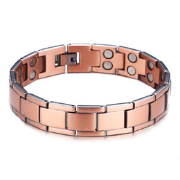 dark red jewelry sets Coupons - Trendy Dark Red Square Chain Pure Copper Bracelet Health Power Jewelry Magnetic Bracelet for Men Gift Fashion Hand Accessories