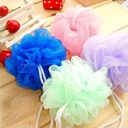 2019 ванна слойка цветок New Style Multicolour bath ball Scrub Strap Exfoliate Puff Sponge Loofah Flower Lace Ball bath towel scrubber Body cleaning скидка ванна слойка цветок