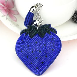 Wholesale Korean Cartoon Ring - Tassel Key Ring Strawberry Bag Hang Bag Fashion Korean Velvet Double Color Drill Key Button Metal Jewelry Cool Keychain Gift