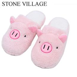 Suini rosa peluche online-Pantofole a casa in tessuto di cotone carino di maiale Pantofole da interno inverno Scarpe da donna per donna Scarpe calde di peluche