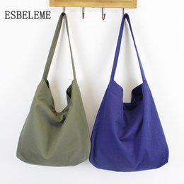 Wholesale Large Gray Handbag - 2018 newest women large capacity canvas casual tote bag for female shopping gray ladies cloth handbag single shoulder bags YG110