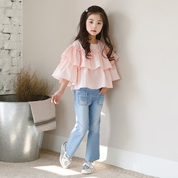 Wholesale Pink Lotus Clothing - Girls T-shirt Half Sleeve Lotus Leaf T-shirts Cotton Layer Tops Tee Shirts Casual Princess Clothing Baby Girl Shirts Pink A8395
