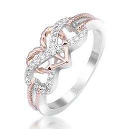 2019 anéis dourados do menino Toda saleTrendy Amor Motif dois tons Anchor Coração anel da promessa para o presente dia Anéis alta qualidade dos Namorados