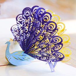 2019 tarjetas de pop 3d 3D pavo real emergente tarjeta de felicitación corte por láser Sobres retro Postal hueca tallada hecha a mano Gracias tarjeta de invitación Kirigami Origami tarjetas de pop 3d baratos