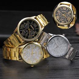 Wholesale Mens Golden Wrist Watches - Golden Steel Watch for Gentlemen Women Quartz Movement Mens Wrist Watches with Black Gold Mixed Style
