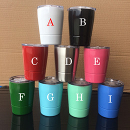 Wholesale Cute Travel Mugs - kids cute Stainless Steel Tumblers 9oz Beer Mugs Wine Glasses Cup Pary Club tumbler Travel Vehicle 9 colors with straws & lids 2018
