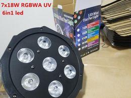 Wholesale dj uv lights - RGBWA 7x18W LED Flat SlimPar RGBWA UV Light 6in1 LED DJ Wash Light Stage dmx light lamp dmx controller 6 10 channes
