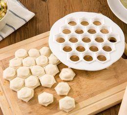 Wholesale hole maker - DIY Kitchen Pastry Tools White Plastic Dumpling Mold Maker Dough Press Dumpling 19 Holes Dumplings Maker Mold Tools HH7-829