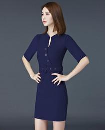 2019 vestidos de trabajo de las mujeres de la marina Moda para mujer Vestidos de verano Manga corta Vestido formal para mujer Ropa de trabajo Estilos de uniformes de oficina Azul marino vestidos de trabajo de las mujeres de la marina baratos
