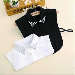 Wholesale white false collar - Wholesale- 2017 New Women False Detachable Collar Sweater Shirt Fake Collars Vintage Diamond Crystal Beading Chiffon Nep Kraagje Blouse