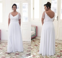 0898c4880c 2018 Romantic Designer Plus size Wedding Dress Chiffon Cheap V neck With  Sheer Short Sleeves Beaded Long Floor length Bridal Gowns New