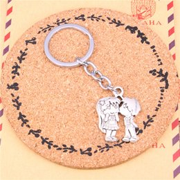 Wholesale Kiss Key Chain - Keychain lover sweethearts kissing Pendants DIY Men Jewelry Car Key Chain Ring Holder Souvenir For Gift