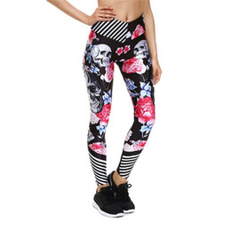a65900dd913ad Skull Flower Quick Dry Women Yoga Pants Elastic Black Sport Leggings Skinny  Fitness Capris Trouser Running Gym Joggings S3