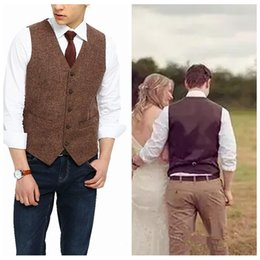Wholesale casual wedding suits men groom - England Style Farm Brown Wool Herringbone Tweed Men Vests Custom Groom Vest Slim Fit Mens Suit Vest Wedding Vests Countryside