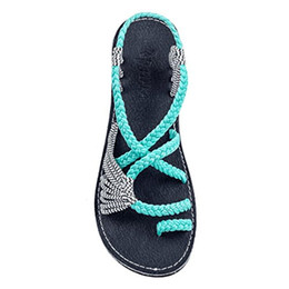 Wholesale weaved sandals - cheap outdoor Fashion Woven Sandals For Women flat heel Casual Summer Shoes Female Flat Sandals Rome Style Cross Tied beach Sandals Shoes