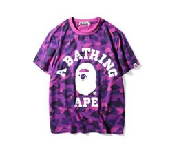Camisas de manga comprida on-line-Atacado Camuflagem T-Shirts Para O Adolescente AAPE Tide Marca de Grandes Dimensões T-Shirts de Verão Lazer T-Shirts Para O Homem de Manga Curta Calções de Lapela