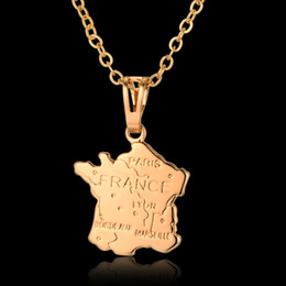 Wholesale Big World Map - Vintage Jewelry World Map Necklace Wholesale, Gold Color France Big Pendant Necklace Men Women Valentine Gift Collier 2016