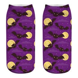 Los mejores calcetines de tobillo de los hombres online-Calcetines de Hallowmas de Halloween de las mujeres de los hombres Calcetines de Tobillo de murciélago de Halloween de la impresión 3D Calcetines de la novedad de Polyester Cool de la bruja del gato Calcetines de la novedad