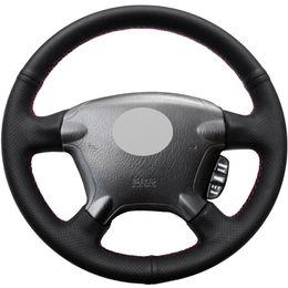 Couro genuíno honda on-line-Diy mão-costurado carro capa de volante preto couro genuíno para honda crv cr-v 2003-2006