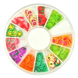 Wholesale Polymer Shapes - 1 pc Summer Fruit Shaped Fimo Cans Slices Sticker polymer clay Wheel Nail Decoration For Nail Art Phone case Drop shipping