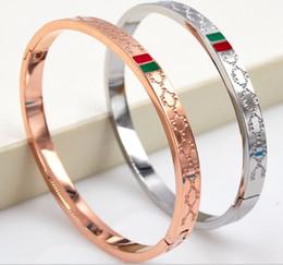 Braquiers pour mariage en Ligne-Vente chaude Rose Or Manchette Bracelet Bracelet De Mariée En Argent Gravé Titanium Acier Bracelets Bracelet Classique De Luxe Marque Bracelets Fine Jewelry