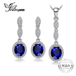 2019 blaue saphir-halsketten-sets JewelryPalace Fashion 6.2ct Oval Blau Erstellt Sapphire Anhänger Halskette Ohrringe Edlen Schmuck Sets 925 Sterling Silber 45cm rabatt blaue saphir-halsketten-sets
