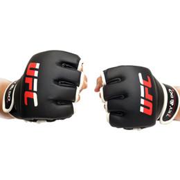 Конечная коробка онлайн-Кожа PU половина Finger боксерские рукавом Profectional конечной крепкая перчатки высокой упругой молотковые варежки впитывает пот сухой быстро ЗЗ 65sh