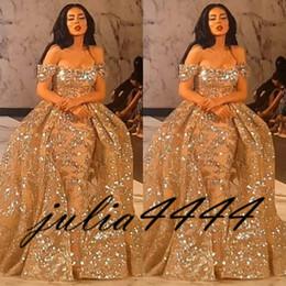 marcas americanas vestidos de noite Desconto Vestidos de noite 2019 Yousef Aljasmi Dubai Árabe Manga Curta Fora Do Ombro Vestido de Baile Vestido de Festa de Lantejoulas Rendas Overskirt vestido de Baile