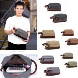 Wholesale travel kit bags men - Retro Patchwork Men Toiletry bag Kits PU Canvas cloth casual outdoor travel storage bag fashion 5colors FFA333 12PCS