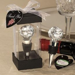 Wholesale Crystal Ball Wine - New Vineyard Collection Crystal Ball Design Wine Champagne Stopper Home Bar Tool Wedding Favors CCA8451 100pcs
