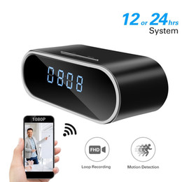 Wholesale Alarms For Sale - 2018 Real Sale 1080p Wifi P2p Table Clock Ip Camera Night for Vision 160 Degree Wide Angle Digital Alarm Dvr Live View Remote Monitor Nanny