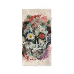 Wholesale Modern Skull - Modern Design Polyester Beach Bath Towel Beautiful Floral Skull 27 x 54 Inch Print Face towel Hand