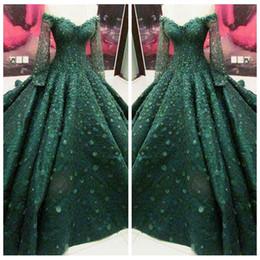 Wholesale Modern Maxi Dresses - 2018 Long Sleeves Dark Green Prom Dresses 3D Flowers Adorned Formal Vestidos De Evening Party Gowns Women Maxi Dresses Lace