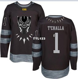 Argentina Real Men real bordado completo T'Challa # 1 The Panther Movie Superhero Marvel Comics Negro o personalizado cualquier nombre o número HOCKEY Jersey Suministro