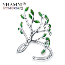 Wholesale China Glaze Sets - YHAMNI Original Creative Jewelry Solid 925 Silver Rings For Women Natural Forest Drop Glaze Leaves Open Rings Adjustable YR303
