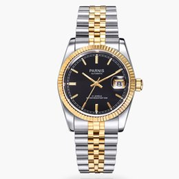 Wholesale Movement Miyota - 36mm black dial golden hands and marks date sapphire glass 21 jewels MIYOTA Automatic movement Men's watches women 389A