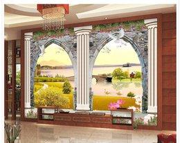 Tapetenspalten online-Fototapete für Wände Europäische 3D-Türen und Fenster dreidimensionale Skulptur Römische Säule TV Hintergrundwand