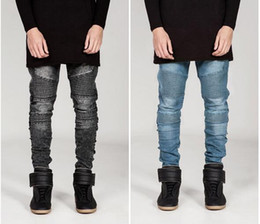 Wholesale Mens Vintage Denim Shorts - Men's Distressed Ripped Skinny Jeans Fashion Designer Mens Shorts Jeans Slim Motorcycle Moto Biker Causal Mens Denim Pants Hip Hop Men Jeans