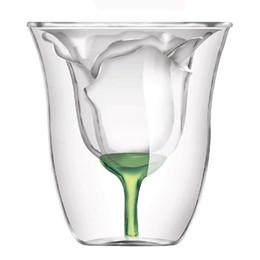 Argentina Al por mayor-Glantop Rose Copa de cristal? Copas de vino tinto Tazas creativas Tazas Regalo 180ML cheap rose mugs wholesale Suministro