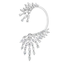Wholesale Mix Dangling Feather Earring - wholesale  1Piece Luxury Trendy Feather Mixed Cubic Zirconia Long Tassel Wedding Party Earring Cuff Fashion Jewelry for Women