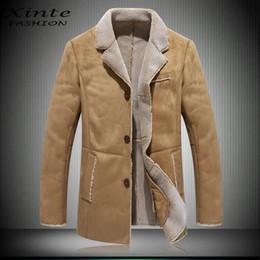 Wholesale Winter Coats Camel Color - Wholesale- 2017 New Arrival Men Leather Jacket Suede Faux Shearling Lamb leather Coat Outwear Garment M-4XL Plus Size Winter Camel