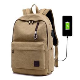 backpack notebooks Canada - USB Charge Canvas Backpack Notebook Laptop Bag Teenagers Men Women Travle Bags Anti Theft Men Backpacks Unisex Knapsack 2017 New