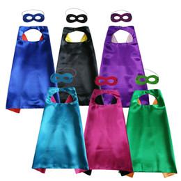 Wholesale Halloween Capes - Plain party favor cape with mask set rich color superhero cosplay cape 6 colors choice double layer cape