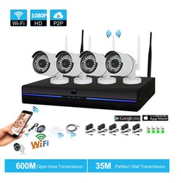 Wholesale Security System 4ch Wifi - 4CH HD Wireless 1080P NVR 4PCS 2.0MP IR Outdoor P2P Wifi IP CCTV Security Camera System Surveillance Kits System
