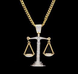 libra halskette silber Rabatt Iced Out Zirkon Balance Libra Skala Anhänger Bling Charme Weißgold Kupfer Material Mens Hip Hop Anhänger Halskette Kette