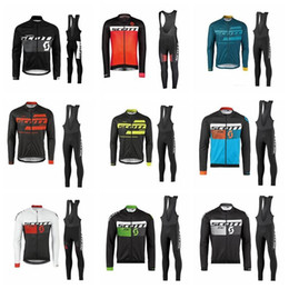 Wholesale scott long sleeve bike - SCOTT team Cycling long Sleeves jersey (bib) pants sets man MTB bike Clothes Lycra High quality Quick Dry Clothing F1606