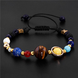 Wholesale Planets Solar - Universe Galaxy the Eight Planets in the Solar System Guardian Star Natural Stone Beads Bracelet Bangle for Women & Men Gift