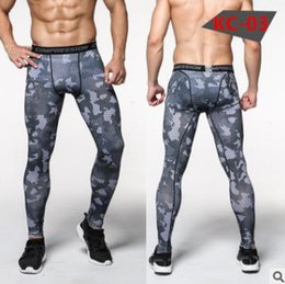 Wholesale mens green sweat pants - 2017 New Leggings Mens 3d Printed Gym Compression Fitness Tights Sweat Pants Sportswear Sports Trousers Man Running Pants Plus Size 06